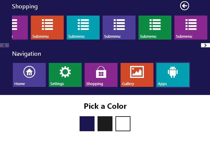 jquerywin8风格图标导航菜单特效
