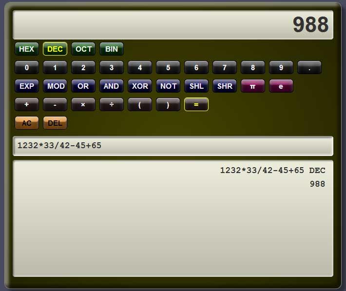 jQuery科学计算器在线工具代码